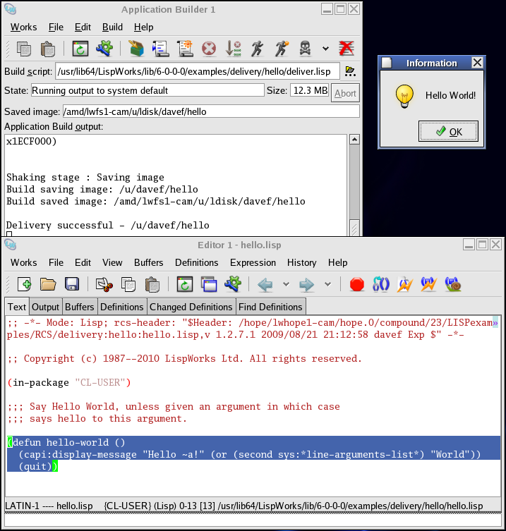 The Application Builder tool with Hello World source code and runtime application on Linux/GTK+.