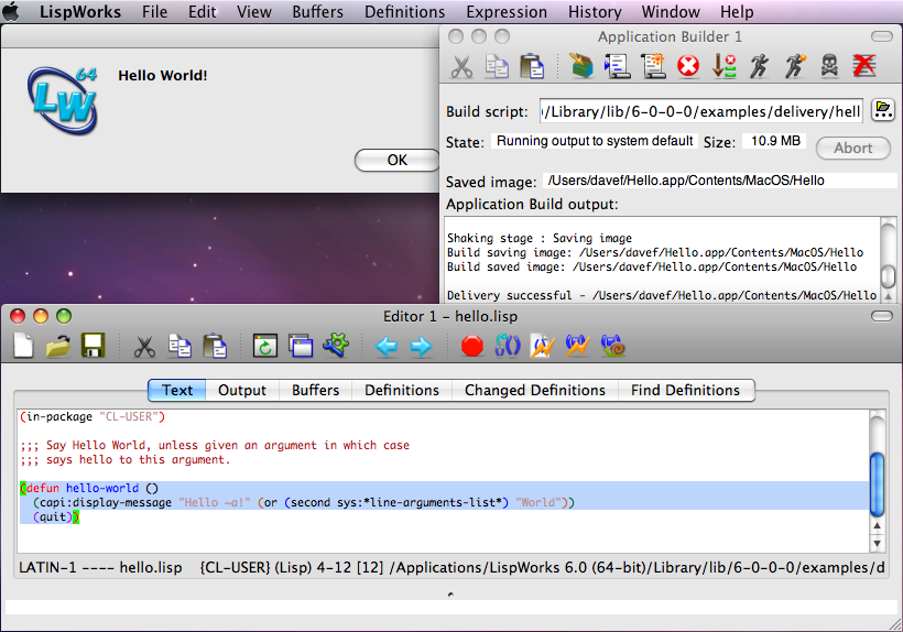 The Application Builder tool with Hello World source code and runtime application on Mac OS X/Cocoa.