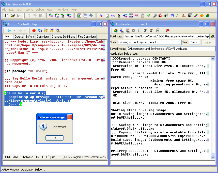 The Application Builder tool with Hello World source code and runtime application on Microsoft Windows.
