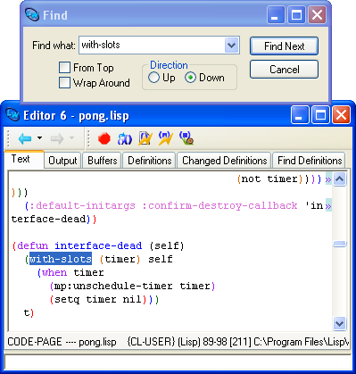 The Editor tool text view on Windows.