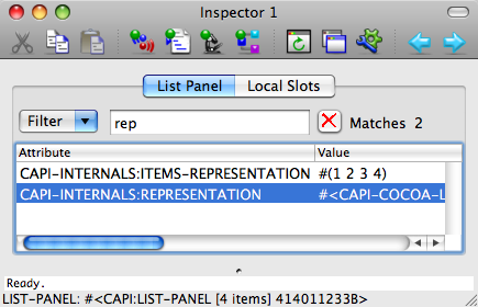 The Inspector tool on Mac OS X.