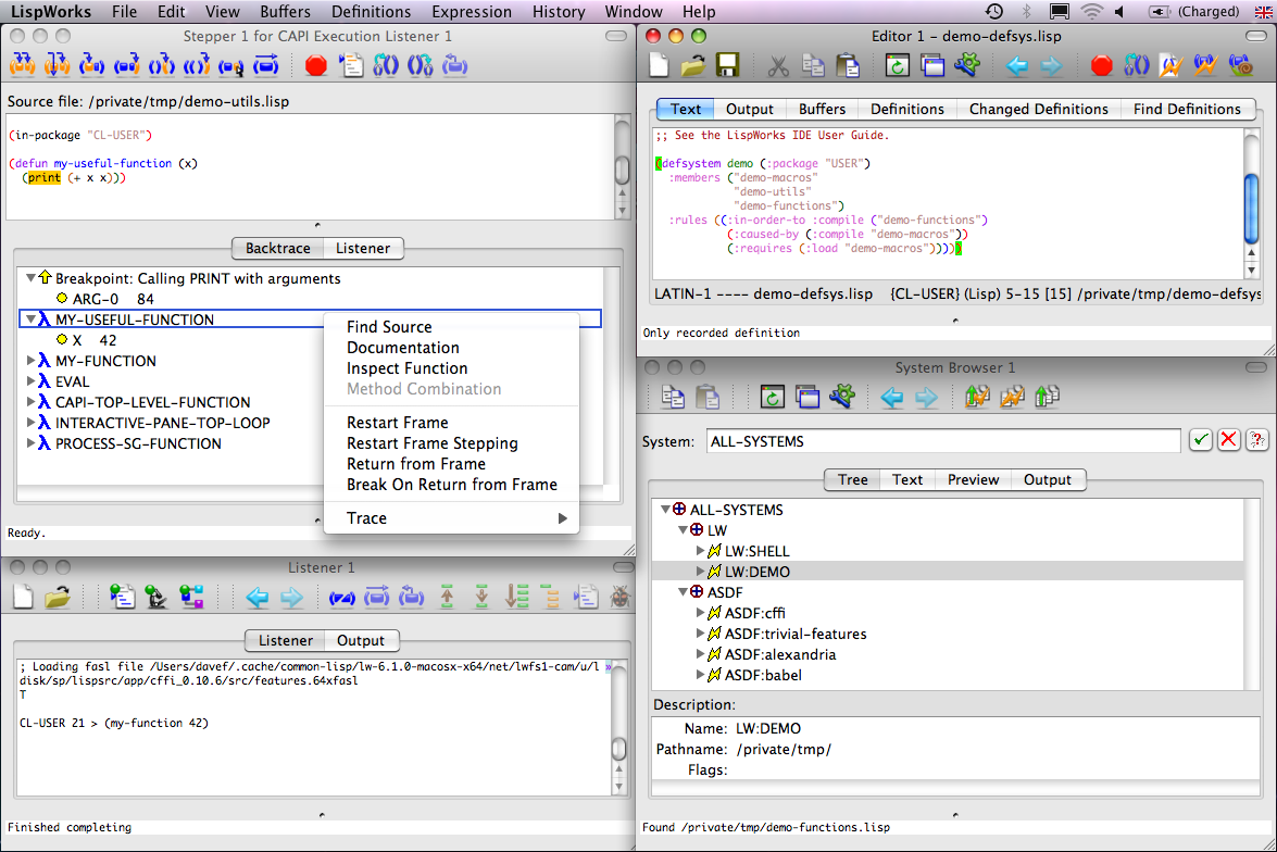 The LispWorks IDE on Mac OS X