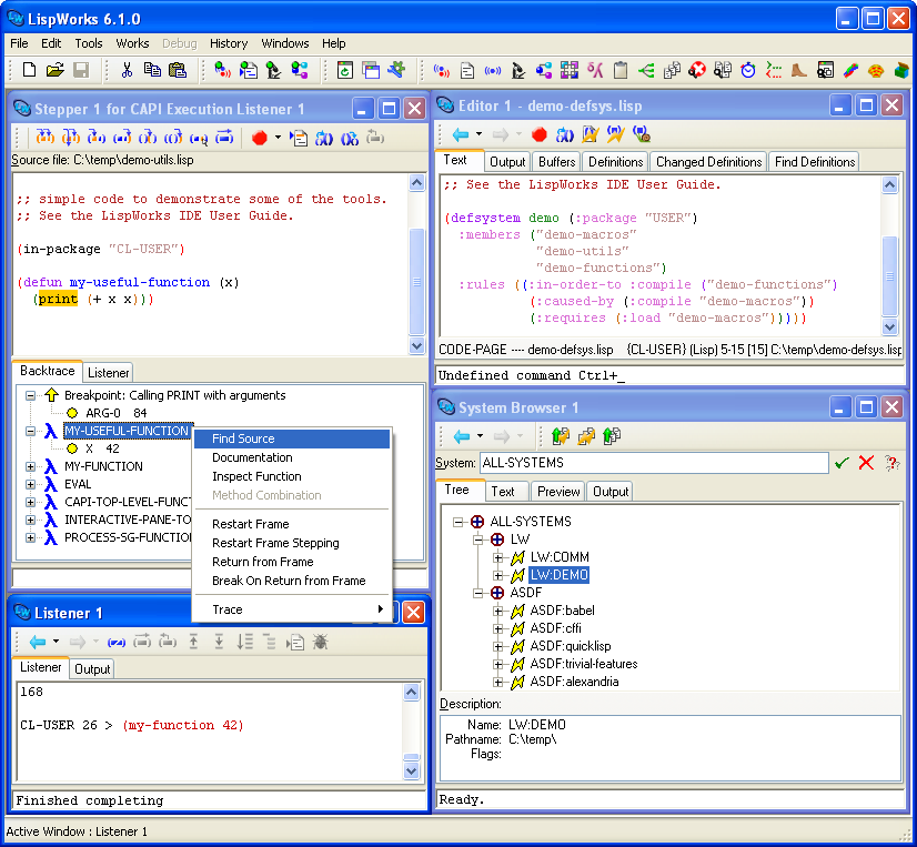 The LispWorks IDE on Windows